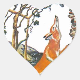 Las fábulas de Esopo el zorro y las uvas Calcomanía De Corazón