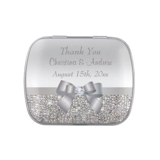Las falsas lentejuelas de plata y el boda del arco frascos de caramelos