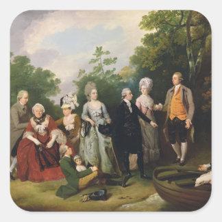 Las familias en un jardín, c.1788 de Oliverio y de Pegatina Cuadrada