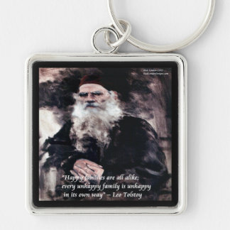 Las familias felices de Tolstoy Ana Karenina citan Llavero Cuadrado Plateado