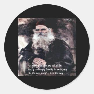 Las familias felices de Tolstoy Ana Karenina citan Pegatina Redonda