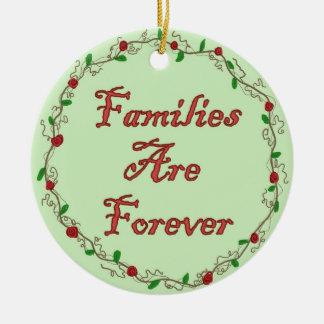 Las familias son para siempre ornamento adorno navideño redondo de cerámica