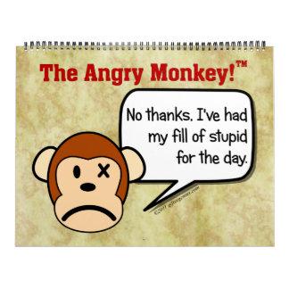 Las fechas adaptables del mono enojado hacen sus calendario de pared