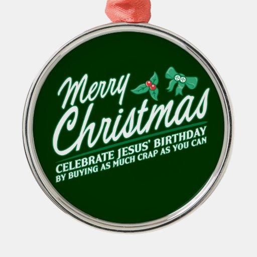 Las Felices Navidad - celebre el cumpleaños de Adorno Navideño Redondo De Metal