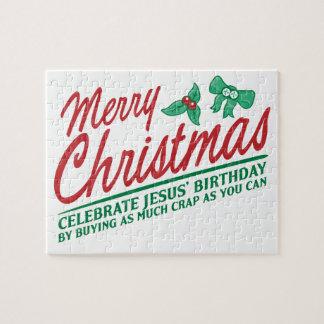 Las Felices Navidad - celebre el cumpleaños de Jes Rompecabeza Con Fotos