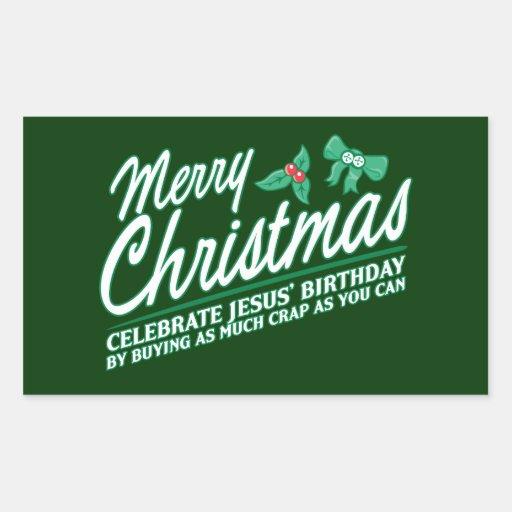 Las Felices Navidad - celebre el cumpleaños de Rectangular Pegatina