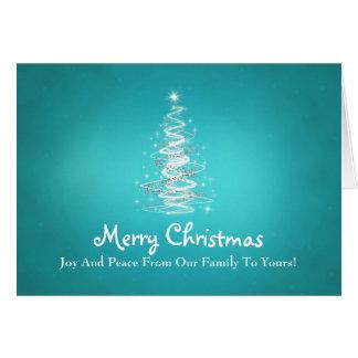 Las Felices Navidad con el árbol chispean en azul Tarjeta De Felicitación