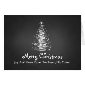Las Felices Navidad con el árbol chispean en negro Tarjeta De Felicitación