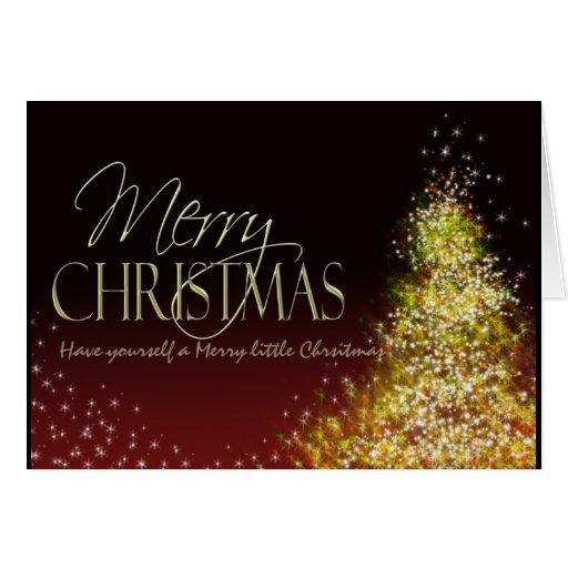 Las Felices Navidad encendieron el árbol Tarjeta De Felicitación