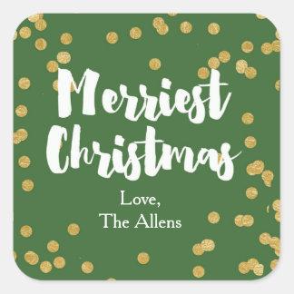 Las Felices Navidad - pegatina o sello del oro