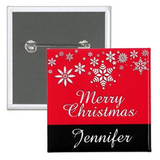 Las Felices Navidad personalizan día de fiesta Pin Cuadrado