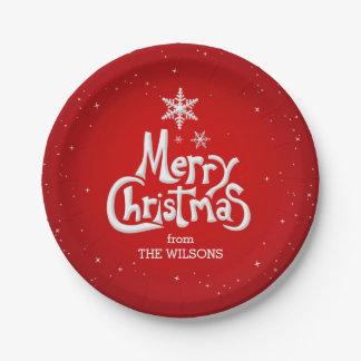 Las Felices Navidad personalizaron las placas de Plato De Papel De 7 Pulgadas