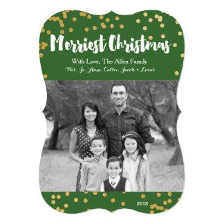 """Las Felices Navidad - tarjeta de la foto del oro Invitación 5"""" X 7"""""""