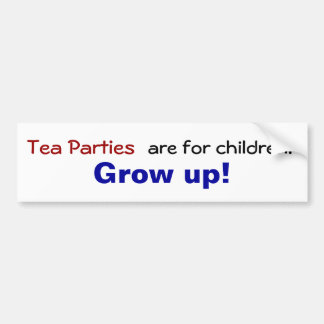 Las fiestas del té están para los niños… ¡Crezca Etiqueta De Parachoque