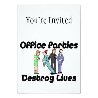 """Las fiestas en la oficina destruyen vidas invitación 5"""" x 7"""""""