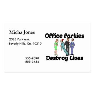 Las fiestas en la oficina destruyen vidas tarjetas de visita