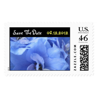 Las flores azules ahorran el sello del boda de la