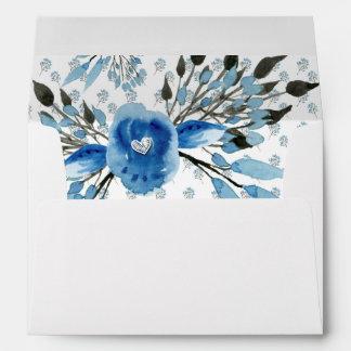 Las flores azules majestuosas de la acuarela sobre