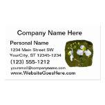 Las flores blancas amarillas se centran alrededor  tarjeta de negocio