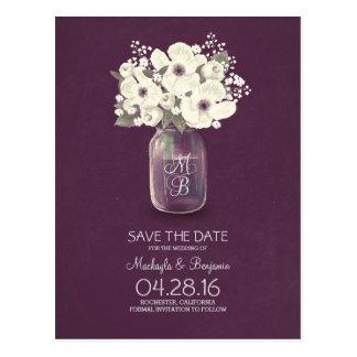 las flores blancas rústicas del tarro de albañil tarjeta postal