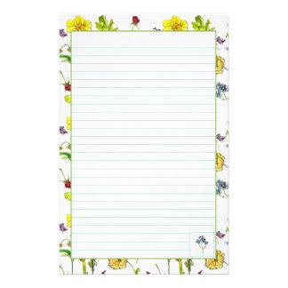 Las flores botánicas alinearon el papel de los efe papelería personalizada