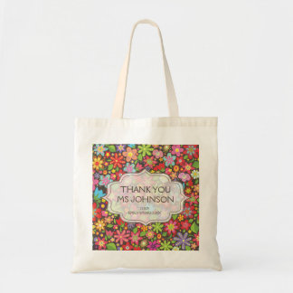 Las flores brillantes de la primavera le agradecen bolsas lienzo