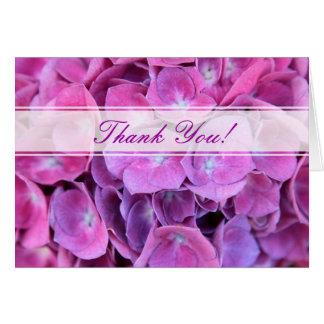 Las flores coloridas del Hydrangea le agradecen Tarjeta De Felicitación