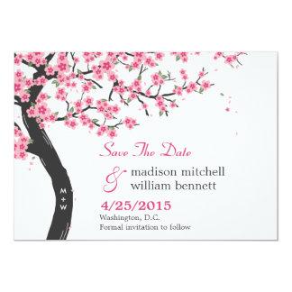 Las flores de cerezo ahorran la tarjeta de fecha invitación 12,7 x 17,8 cm