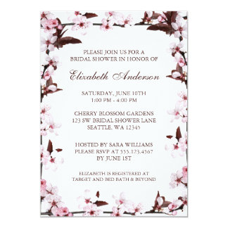 """Las flores de cerezo confinan la ducha nupcial invitación 5"""" x 7"""""""