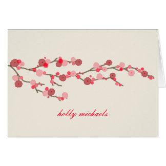 Las flores de cerezo de la acuarela personalizaron tarjetas