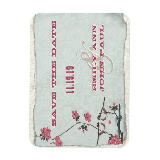 Las flores de cerezo de los pájaros del amor del imanes rectangulares