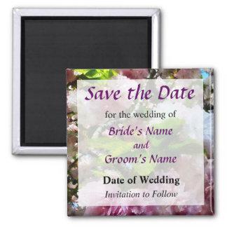 Las flores de cerezo dobles ahorran la fecha imán cuadrado
