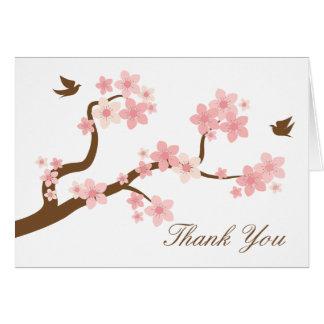 Las flores de cerezo en blanco le agradecen cardar tarjeta pequeña