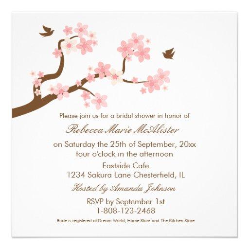 Las flores de cerezo en la ducha nupcial blanca in comunicados personales