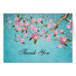 Las flores de cerezo japonesas rosadas le agradece tarjeton