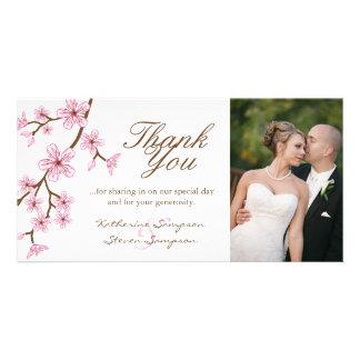 Las flores de cerezo le agradecen tarjeta de la tarjeta fotografica personalizada