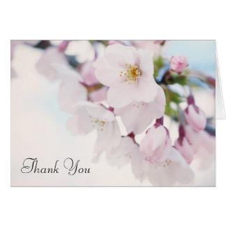Las flores de cerezo le agradecen tarjeta pequeña