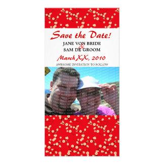 Las flores de cerezo rojas y blancas ahorran la tarjetas fotográficas personalizadas