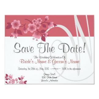 """Las flores de cerezo rosadas - ahorre la fecha   invitación 4.25"""" x 5.5"""""""