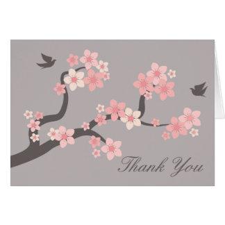 Las flores de cerezo rosadas/gris le agradecen car tarjeta pequeña