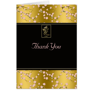 Las flores de cerezo rosadas negras del oro le agr tarjeta pequeña