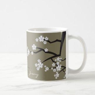 Las flores de cerezo Sakuras blanco florecen la Taza