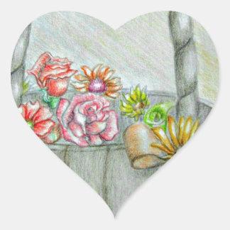 Las flores de cesta, sean mi florista pegatina en forma de corazón