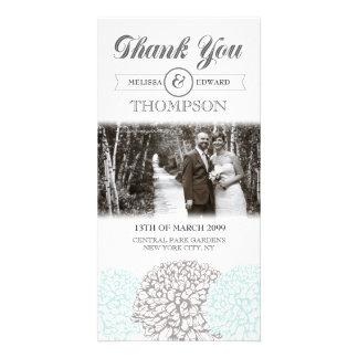 Las flores de la aguamarina del vintage le agradec tarjeta con foto personalizada