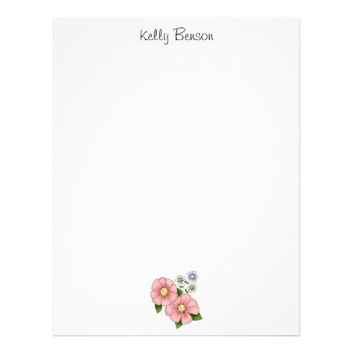 Las flores de la madre · Flores rosadas Membretes Personalizados