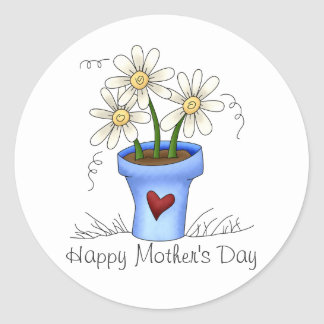 Las flores de la madre · Maceta azul Pegatina Redonda