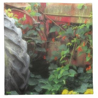 Las flores de la primavera adornan un tractor viej servilletas imprimidas