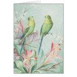 Las flores de la rama del pájaro de los tarjeta pequeña
