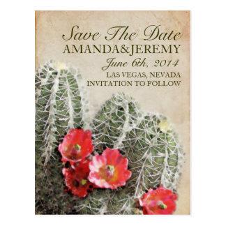 Las flores del cactus ahorran la fecha tarjeta postal
