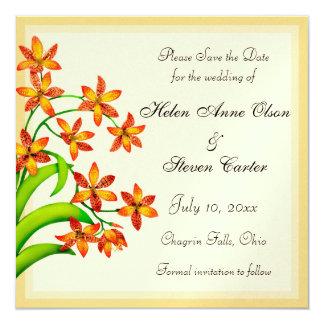 """Las flores del lirio del caramelo ahorran la fecha invitación 5.25"""" x 5.25"""""""